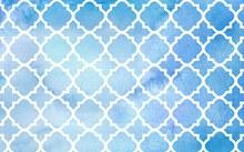 水彩绘蓝底白色花纹背景图矢量图片