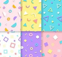 6款彩色孟菲斯风格无缝背景图矢量图