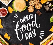 创意美食世界粮食日艺术字图矢量素材