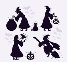 4款创意女巫剪影设计矢量下载