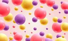 彩色立体圆球无缝背景图矢量图下载
