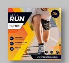创意跑步男子健身传单矢量