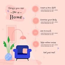 居家隔离倡议展板设计矢量图
