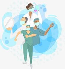 抗疫一线医护人员医生护士矢量图下载
