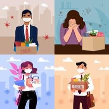 被解雇的失业人物插画创意矢量