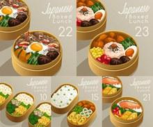 在便当盒里的日式料理主题矢量图片