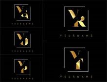 金色双字母组合创意标志3矢量下载