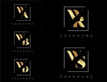 金色双字母组合创意标志5矢量