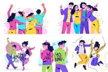鲜艳配色的国际青年日插画矢量素材
