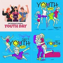 扁平化国际青年日插画创意矢量图下载
