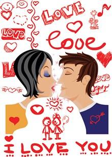 浪漫手绘背景情人节海报矢量图下载