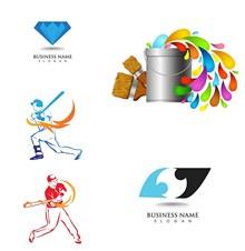 运动人物剪影与宝石等标志矢量素材