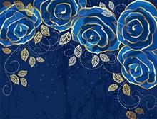 高贵优雅的蓝色玫瑰背景矢量图