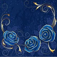 高贵优雅的蓝色玫瑰背景(2)EPS矢量下载