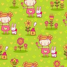 可爱卡通女孩和花朵无缝背景矢量图下载
