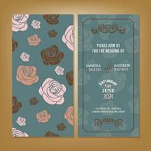 玫瑰花背景婚礼邀请卡设计矢量图下载