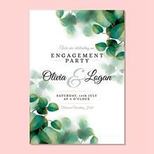绿色树叶装饰小清新婚礼请柬矢量图下载
