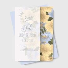浅黄色花卉装饰婚礼邀请卡矢量图