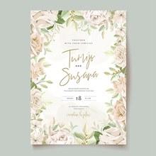 花卉装饰婚礼邀请函矢量下载